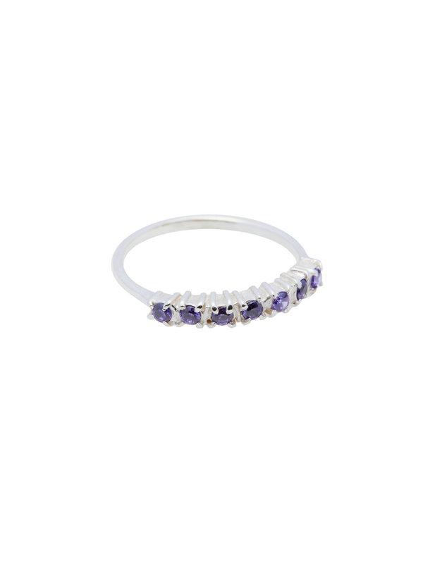 Xzota Ring Vintage Purple Zircon Silver