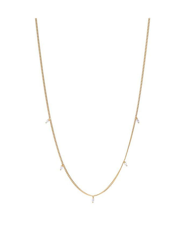 Xzota Tiny Pearls Necklace Gold Plated