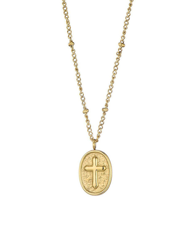 By Sara Collection Riley Cross Necklace Goud