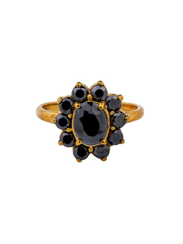 Xzota Ring Black Zircon Brass