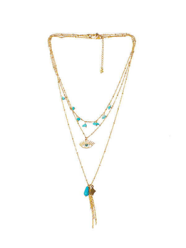 By Sara Collection Turquaise Eye Necklace Goud