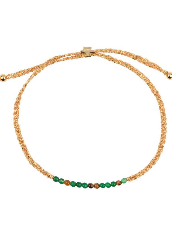 Betty Bogaers Braided Beads Bracelet Gold Plated Jade Tigereye