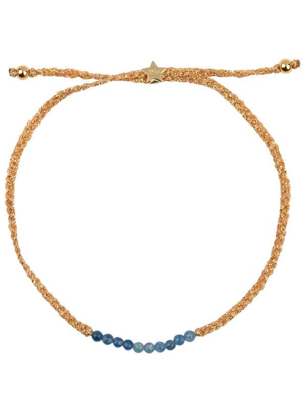 Betty Bogaers Braided Beads Bracelet Gold Plated Blue Agathe