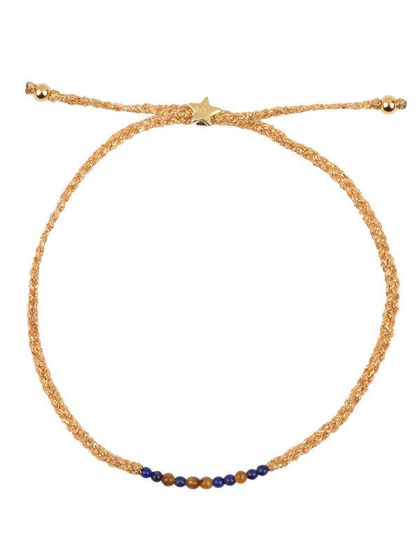 Betty Bogaers Braided Beads Bracelet Gold Plated Lapiz Tigereye