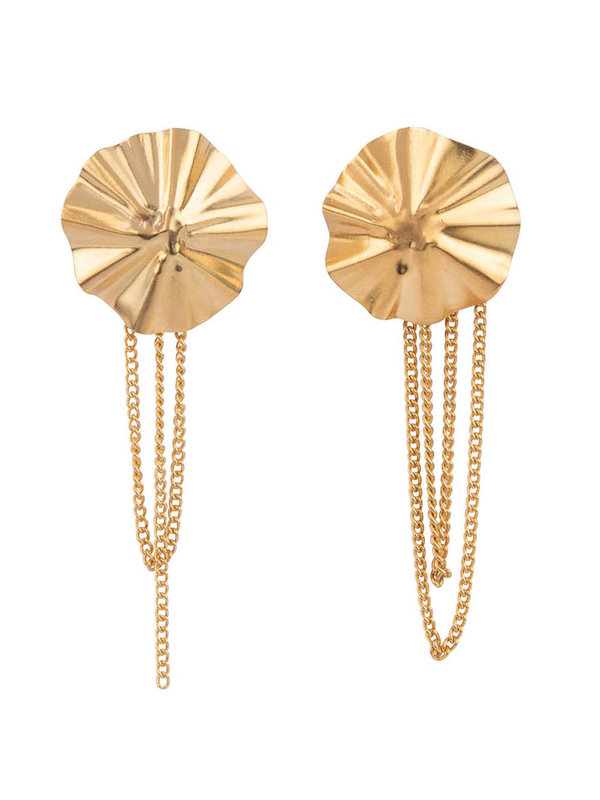 Betty Bogaers Folded Big Round Chain Stud Earring Gold Plated