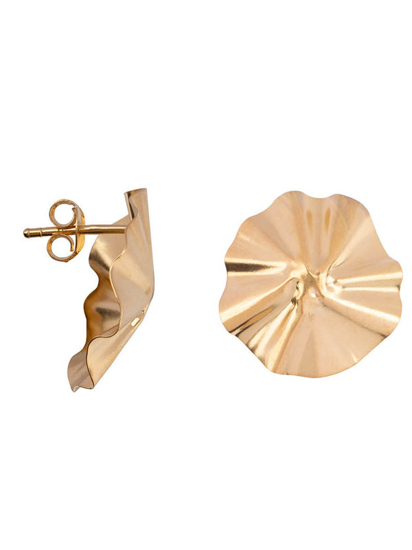 Betty Bogaers Folded Big Round Stud Earring Gold Plated