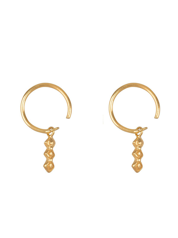 Betty Bogaers Retro Dangling Blocks Ring Earring Gold Plated