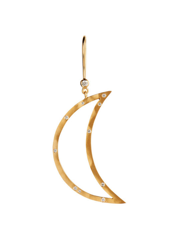 Stine A Big Bella Moon with Stones Earring Gold