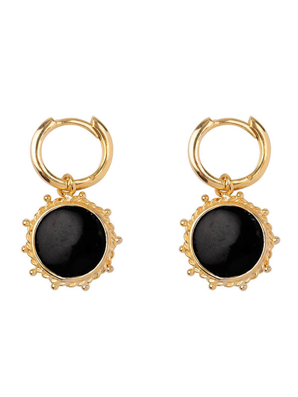 Betty Bogaers Black Round Dotted Small Hoop Earring Gold Plated