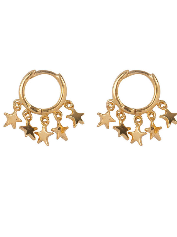 Betty Bogaers Hoop 5 Stars Click Earring Gold Plated