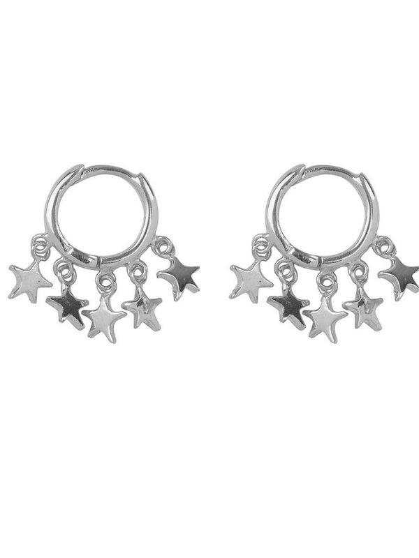 Betty Bogaers Hoop 5 Stars Click Earring Silver