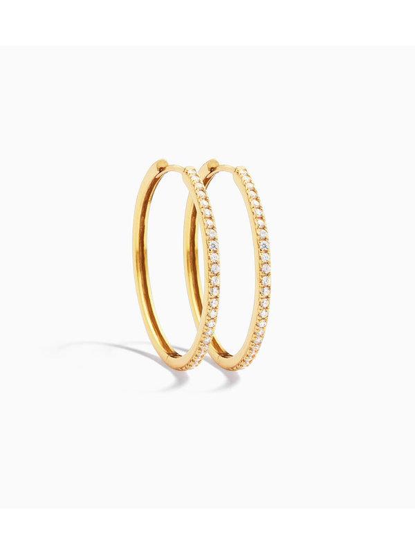 Eline Rosina Classic Zirconia Hoops Gold Plated