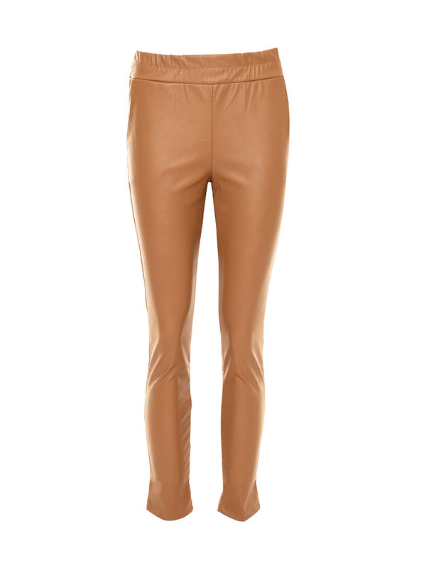 By Sara Collection Olivia Fake Leather Pants Camel