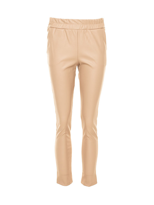 By Sara Collection Olivia Fake Leather Pants Beige