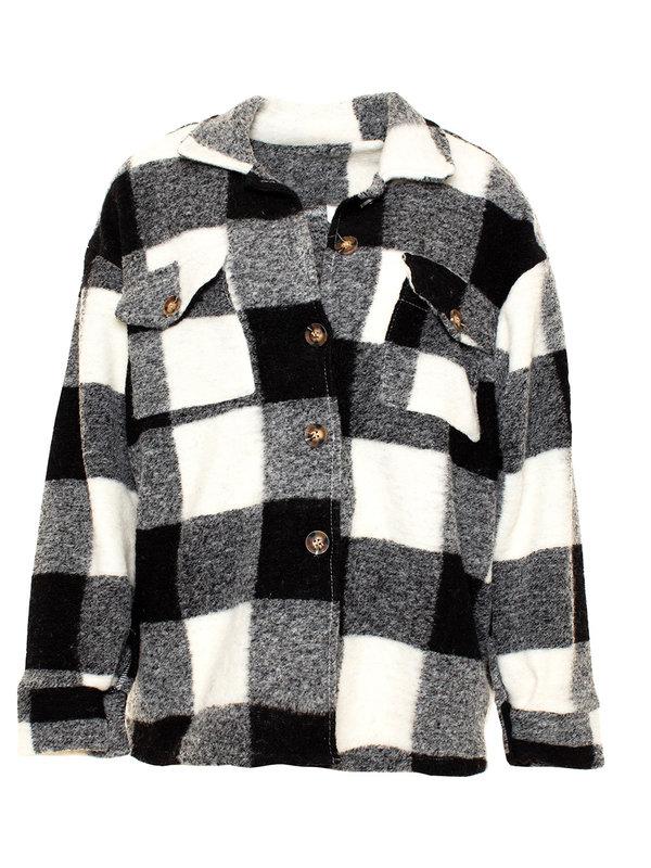 By Sara Collection Lana Check Jacket Black