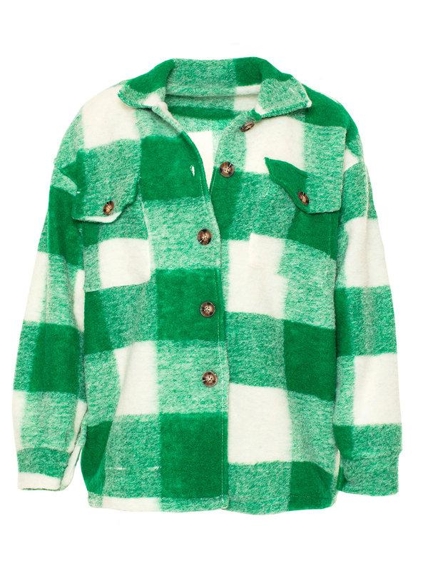 By Sara Collection Lana Check Jacket Green