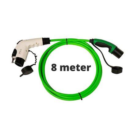 Ratio Laadkabel type 1 naar type 2 - 1 fase - 16A - 8 meter