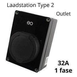 EO Mini Pro Laadstation type 2 Outlet 32A Zwart