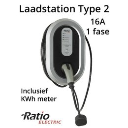 Ratio EV Home Box Plus Laadstation type 2, 1 fase 16A, rechte laadkabel + KWh meter