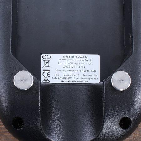 EO Basic Laadstation type 2 - 3 fase 16A - Zwart - Vaste kabel