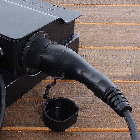 EVHUB Laadstation type 2, 16A, 1 of 3 fase met vaste rechte laadkabel - 5 meter - Zwart