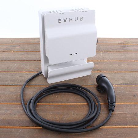 EVHUB Laadstation type 2, 16A, 1 of 3 fase met vaste rechte laadkabel - 8 meter - Wit