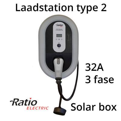 Ratio Solar Box 32A 3 fase met 5 meter vaste laadkabel type 2 - Tesla button