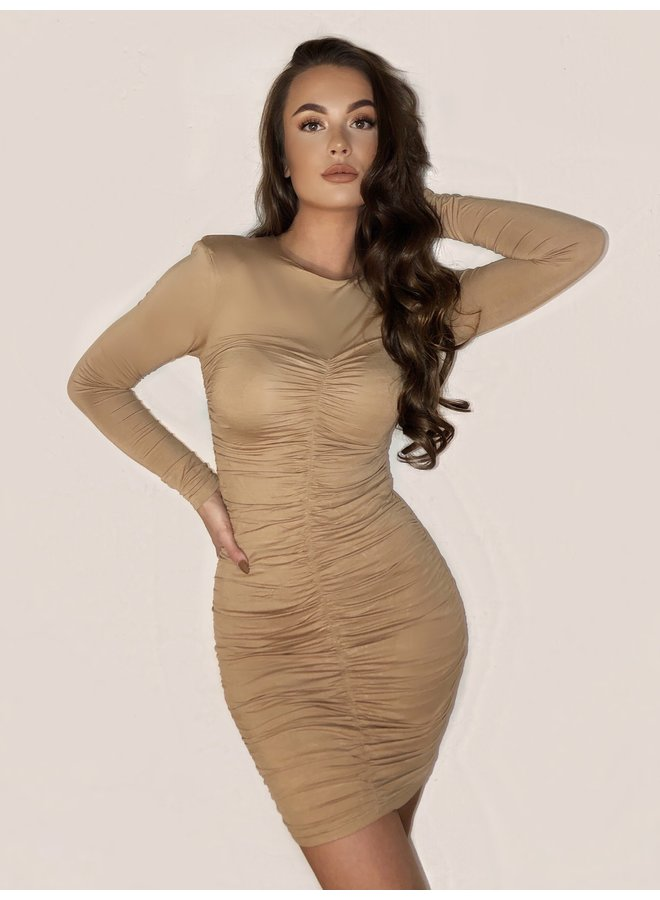 DRAPED DRESS BEIGE