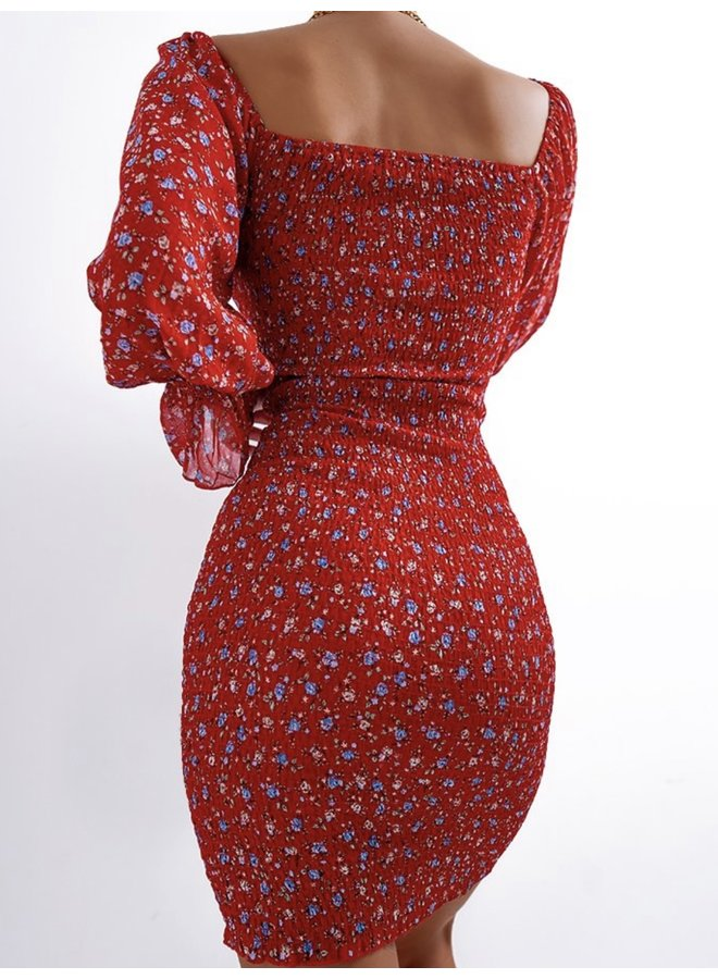 RUCHED DRESS RED
