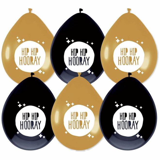 """Ballonnen Festive Gold """"Hip Hip Hooray"""" (6ST)"""