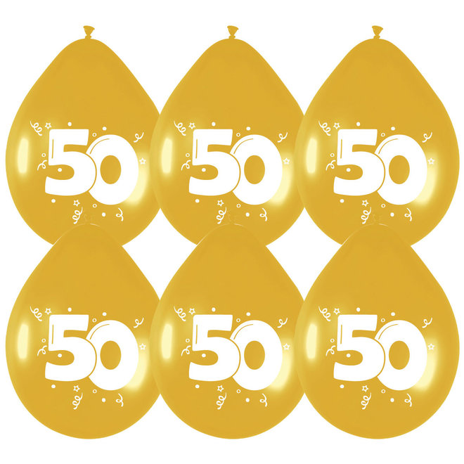 Ballonnen Metallic Goud 50 (6ST)