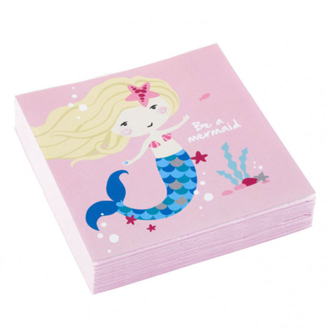 Servetten Be A Mermaid Roze 25cm x 25cm (20ST)