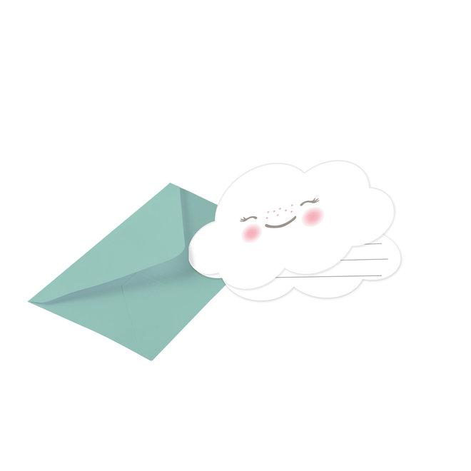 Uitnodigingen Rainbow & Clouds met Envelop (8ST)