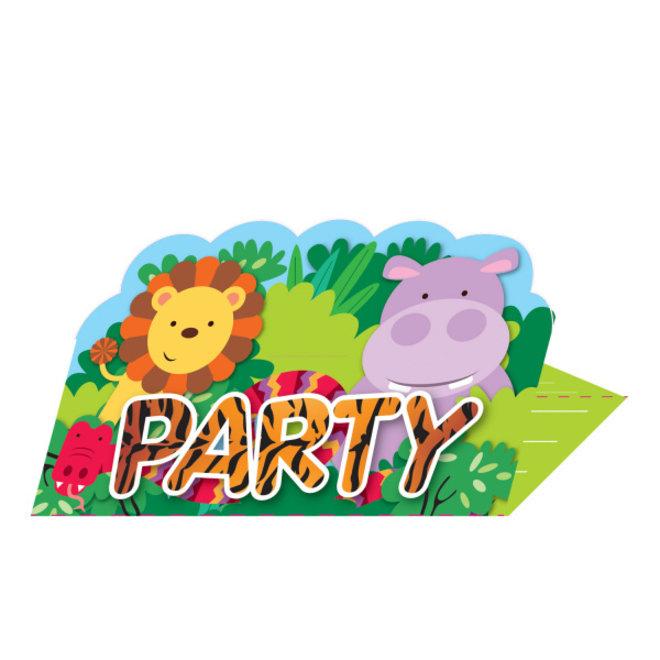 Uitnodigingen Jungle Fun met Envelop (8ST)