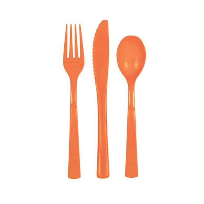 Plastic Bestek Oranje (18ST)