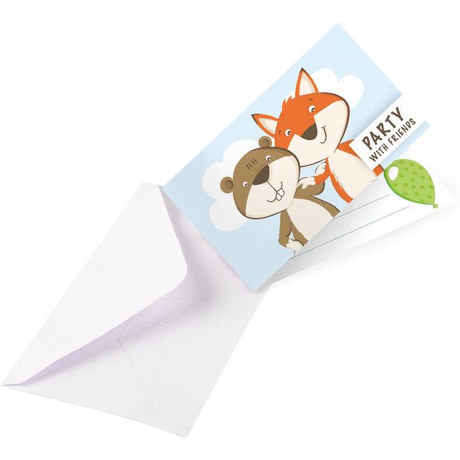 Uitnodigingen Fox & Beaver (8ST) + Enveloppen