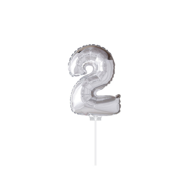 "Folie Ballon ""2"" Zilver (40CM)"
