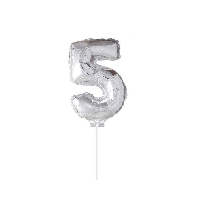 "Folie Ballon ""5"" Zilver (40CM)"