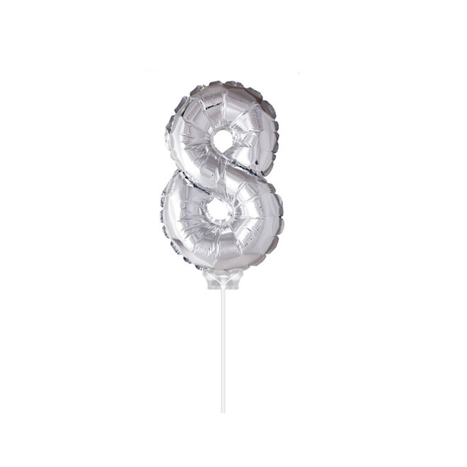"Folie Ballon '8"" Zilver (40CM)"