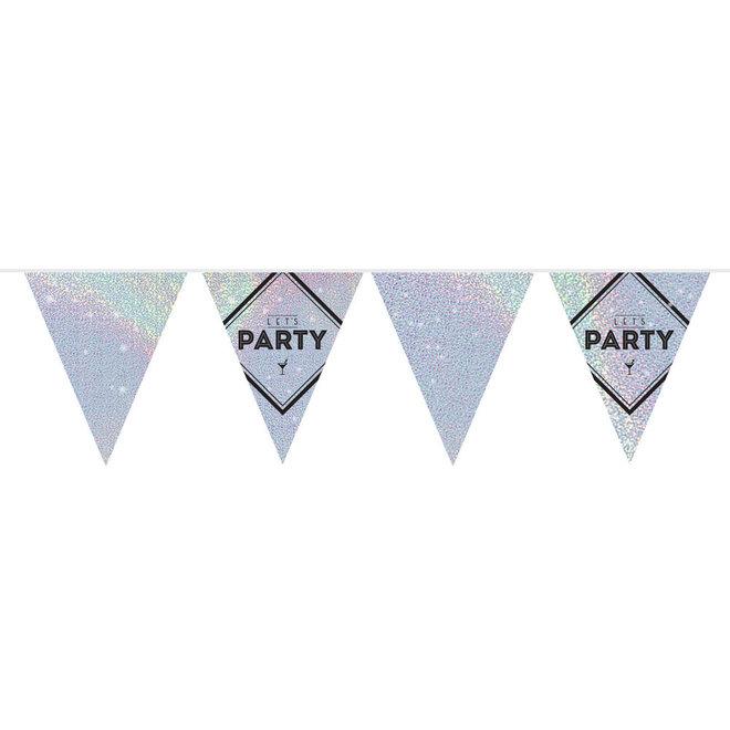 Vlaggenlijn Lets Party Zilver Holographic 10M