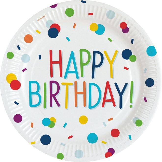 Borden Birthday Confetti Happy Birthday 23CM (8ST)