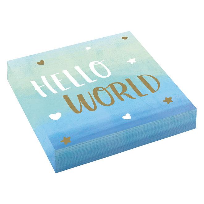 "Servetten ""Hello World"" Blauw 33cm x 33cm (16ST)"