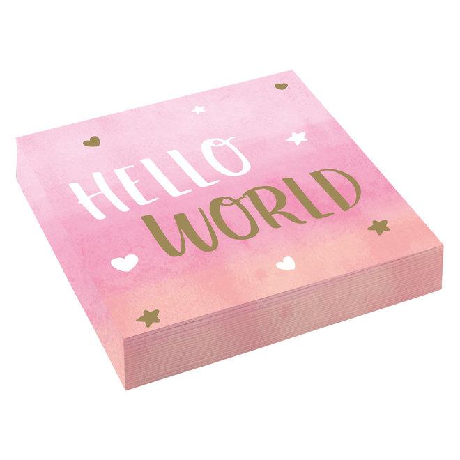 "Servetten ""Hello World"" Roze 33cm x 33cm (16ST)"