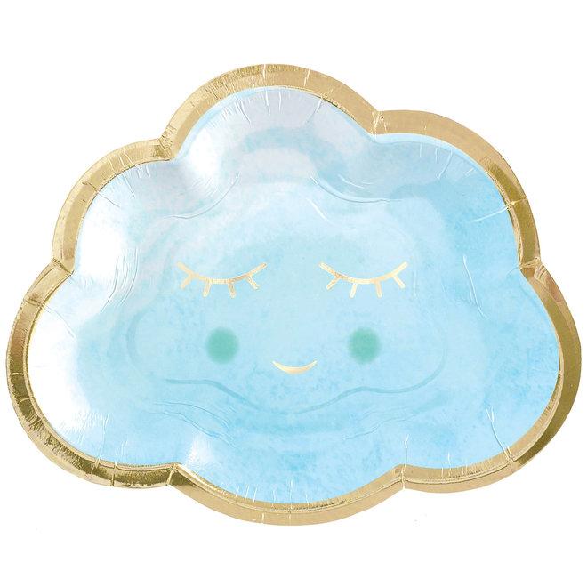 """Bordjes """"Oh Baby"""" Blauw Happy Smile 16.5cm (8ST)"""