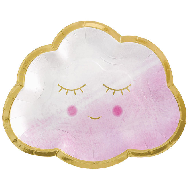 "Bordjes ""Oh Baby"" Roze Happy Smile 16.5cm (8ST)"