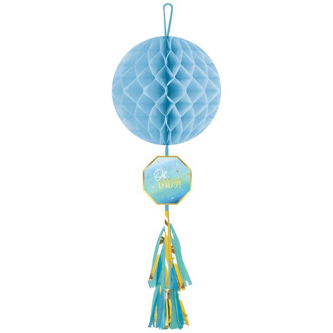 "Honeycomb Bol ""Oh Baby"" Blauw 75cm"