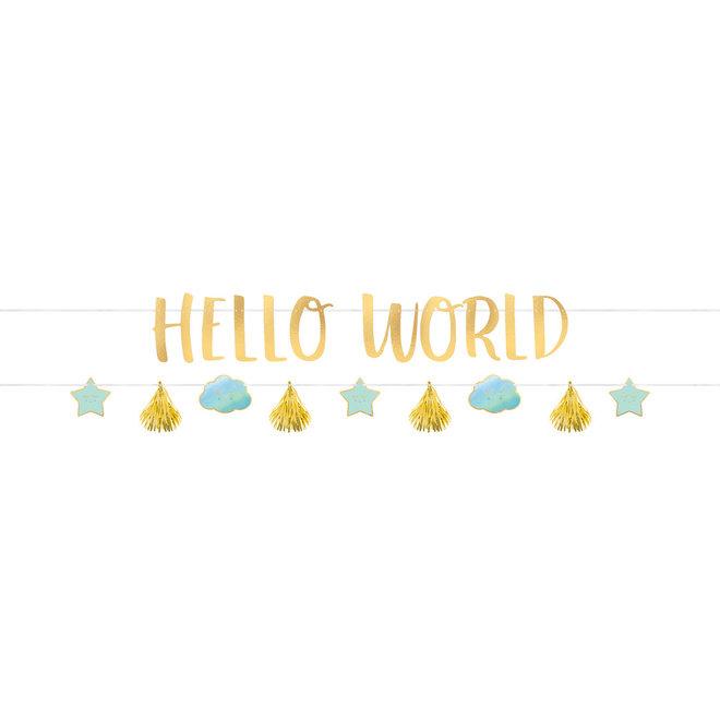 "Mega Banner ""Hello World""  Blauw 1.77cm x 18cm  (2D)"