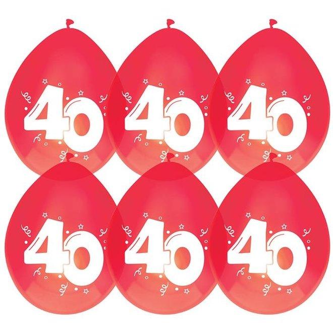 """Ballonnen Metallic Robijn Rood """"40"""" (6ST)"""