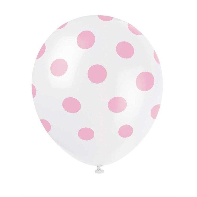 Ballonnen Stippen Baby Roze 30CM (6ST)