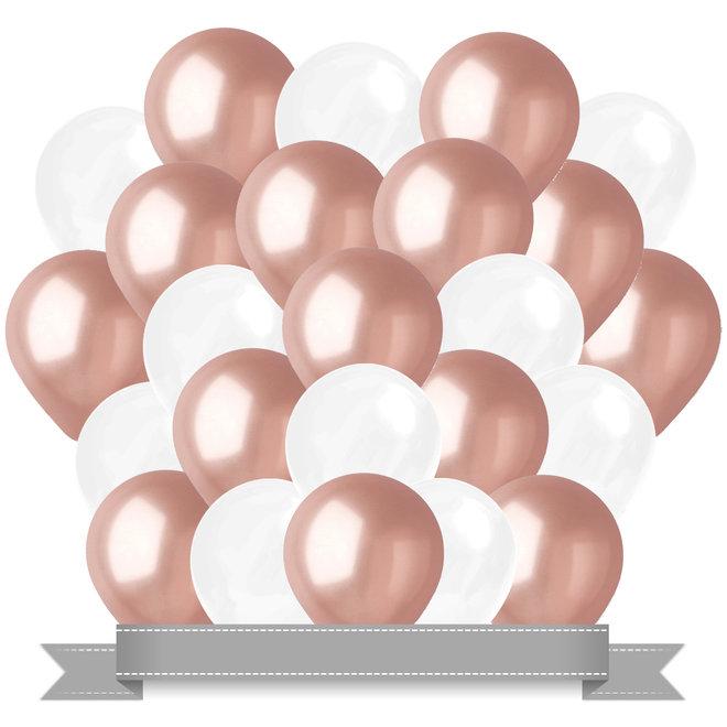 Ballonnen Metallic Rosé Goud / Wit (30ST)